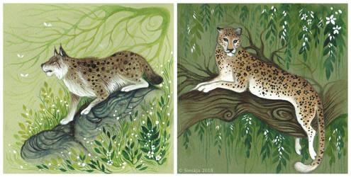 Felidae - Lynx + Leopard by Sieskja