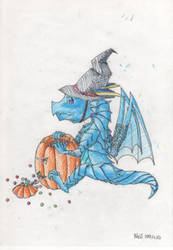Halloween Dragon~!(colored 2)-100.12.10 by laysdra7265
