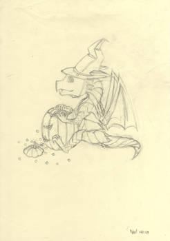 Halloween Dragon~!(Sketch)-100.12.09