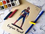 Captain Marvel - mixed media fanart