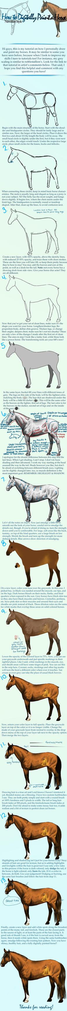 Digital Horse Painting Tutorial by Nawaii