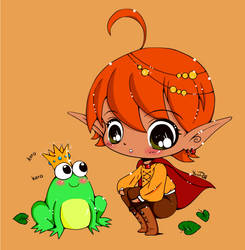 Frog and elf coloring by Eunice55
