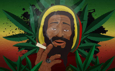 OLD JAMAICAN RASTAFARIAN SMOKING A SPLIF by angrybudcom