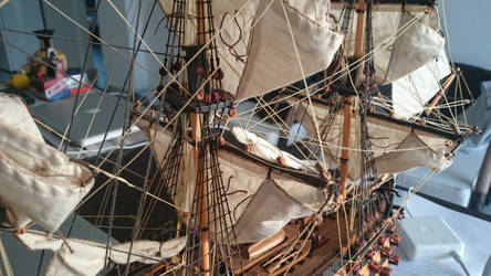 HMS Victory tallship's rope work by angrybudcom