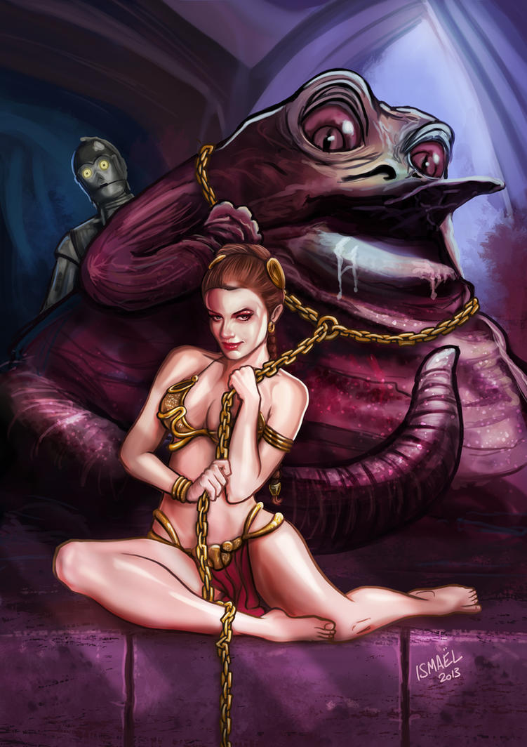 Leia slave costume with Jabba by ismaelArt