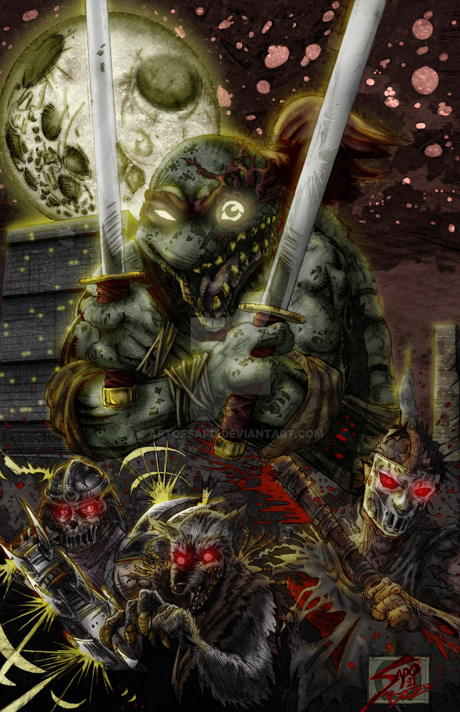 TMNT HORROR DEATH ZHS ZOMBIES PROJECT COLORED by U-D0NT-KN0W-ME