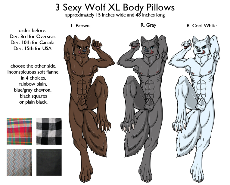 3 Sexy Wolves - XL body pillows by SPPlushies