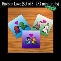 Parrots in Love mini prints