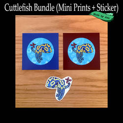 Cuttlefish print and sticker bundle