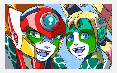 Selfie: Axl and Pallette - fusion zero suit mode by samusmmx