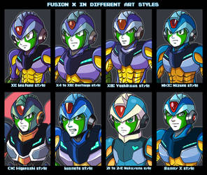 Fusion X in his different styles of art by samusmmx