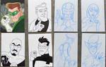 Green Lanterns wip sketch cards