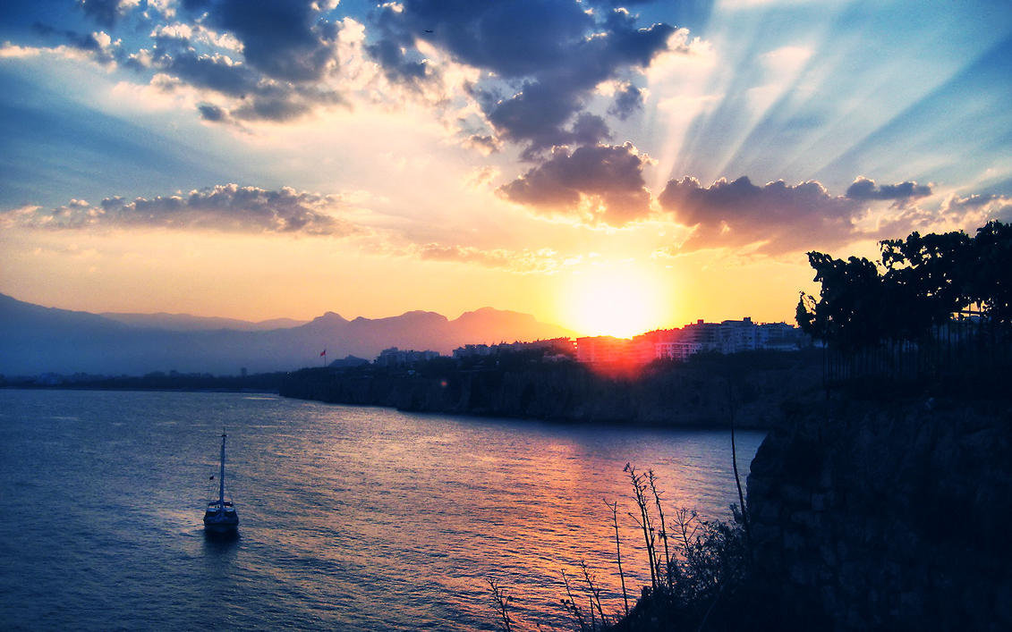 Antalya Sunset Wallpaper by cheyrek