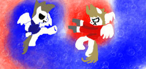 Tord and Tom as pegasus fighting in the air.