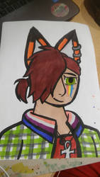 Lame self-portrait whit fox ears for a Pride Month