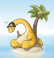 Sad Pirate Dinosaur by samandfuzzy