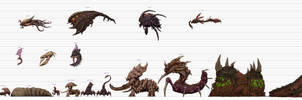 Starcraft to Scale: Zerg Chart (old) by xiaorobear