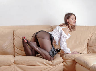 Melissa in ripped pantyhose by MarcBergmann