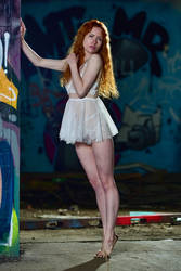 beautiful redhead at the lost place by MarcBergmann