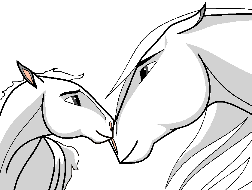Mare and Kid Lineart by SpiritFan24