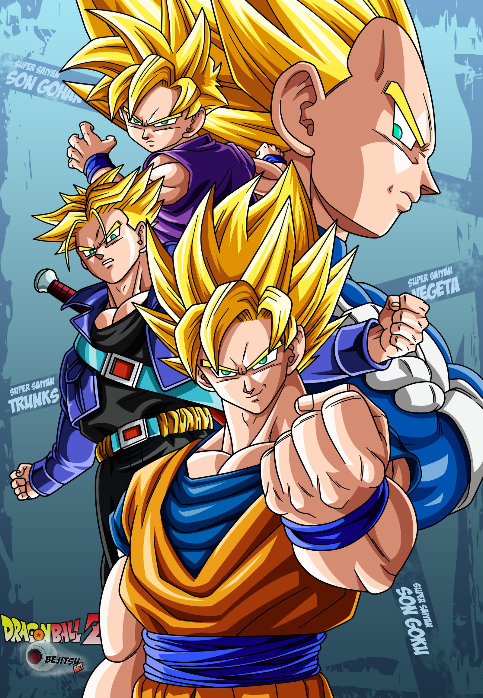the 4 super saiyans by Bejitsu