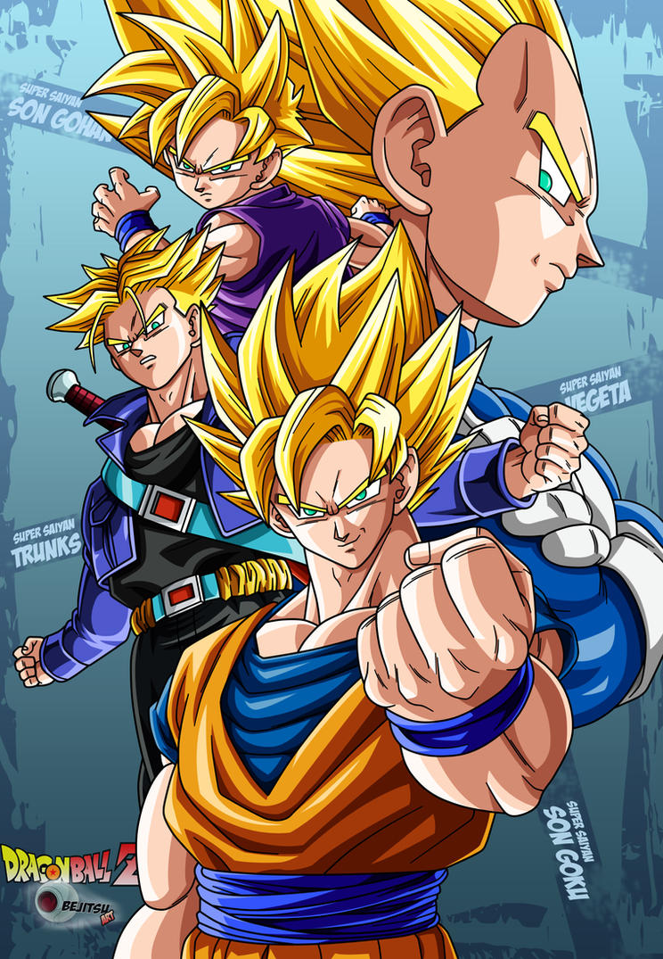 the 4 super saiyans by Bejitsu