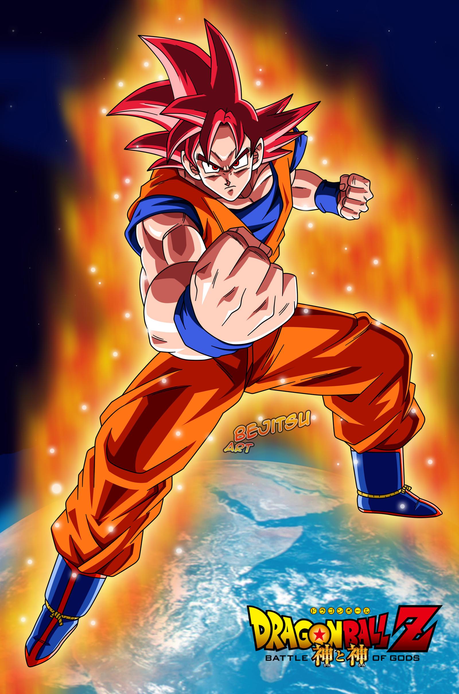 Goku ssjGod by Bejitsu on DeviantArt