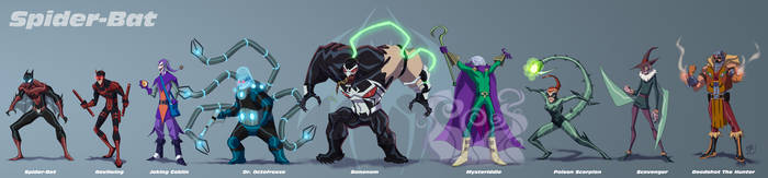 Spider-Bat Line Up by EricGuzman