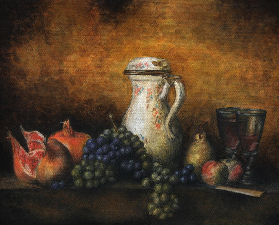 Chardin's Still life with grapes and pomegranates by Niuta71