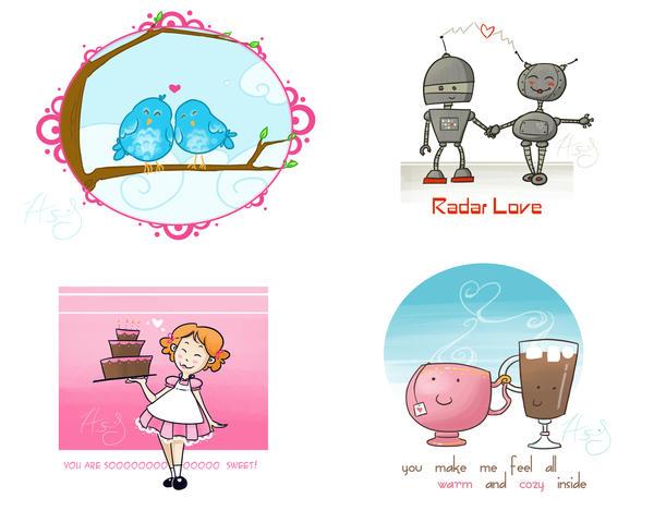 Valentines for printing by Hanasu