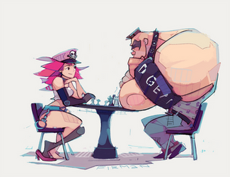 Poison and Abigail playing chess