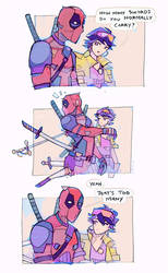 Deadpool and Jubilee Take Inventory