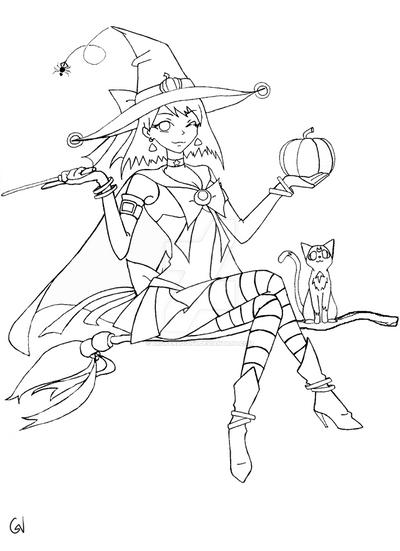 Sailor Halloween Lineart by brokenloony