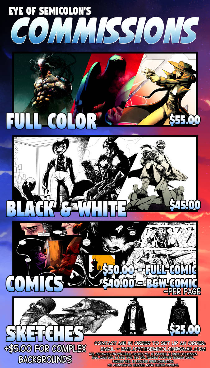 Commissions Prices (UPDATED) by EyeOfSemicolon