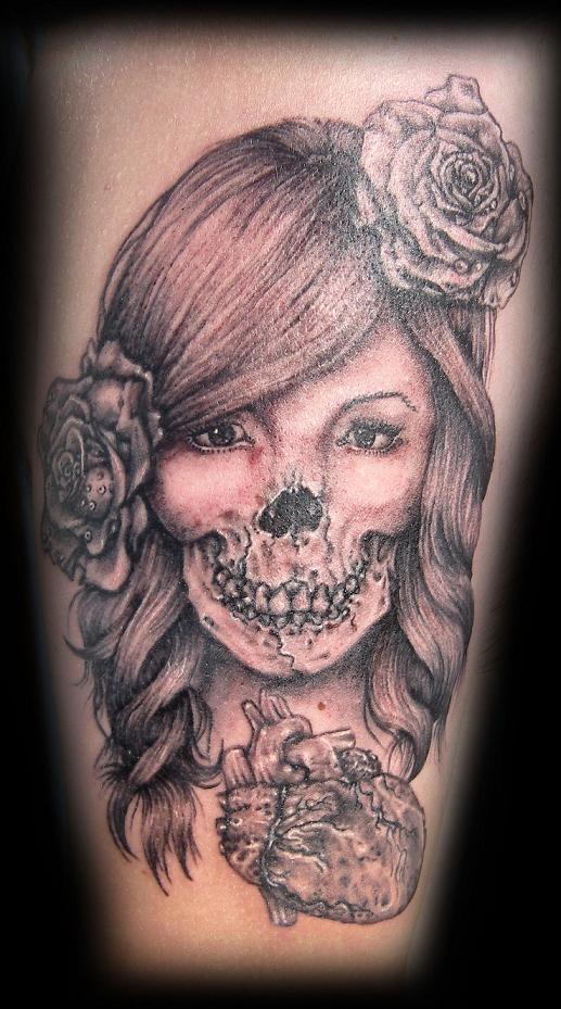Lady skull tattoo by vampire she on deviantart for Vampire skull tattoo