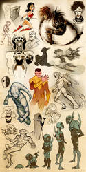 DC + Young Justice Sketch Blitz 4 by dou-hong