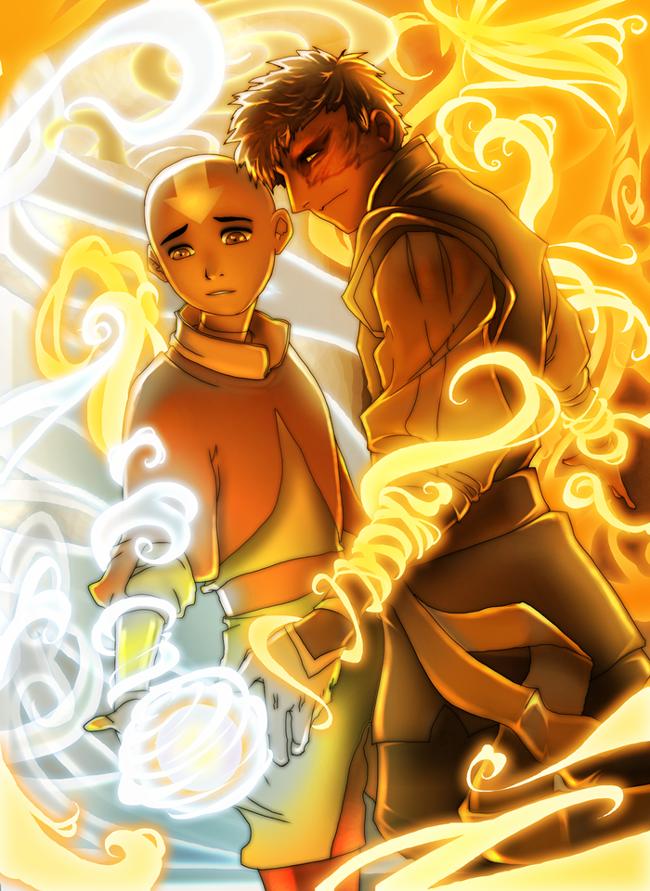 +A Fire Inside+  Aang + Zuko by dou-hong
