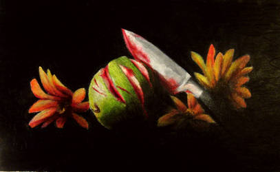 Still Life Apple Murder with Colored Pencils
