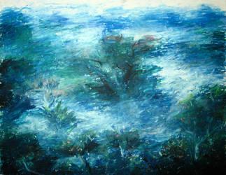 Landscape Study with Oil Pastel by myshrinkingviolet