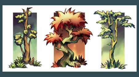 Tree Triptych by myshrinkingviolet