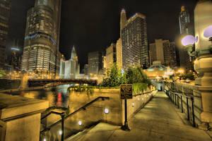 Riverfront walkway at night by lightzone