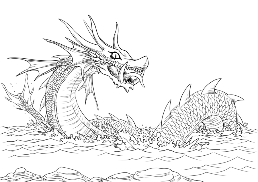 Sea Dragons Coloring Sheets For AdultsDragonsPrintable Coloring