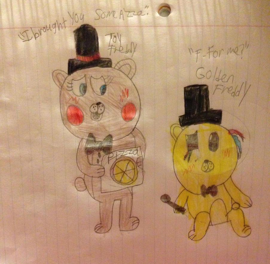 Toy Freddy offers Golden Freddy pizza by AlyssaFazbear