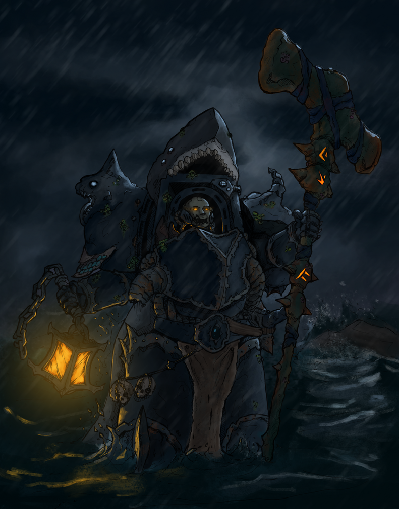 Chaos space marine shark sorcerer (color) by MyDeads on ...