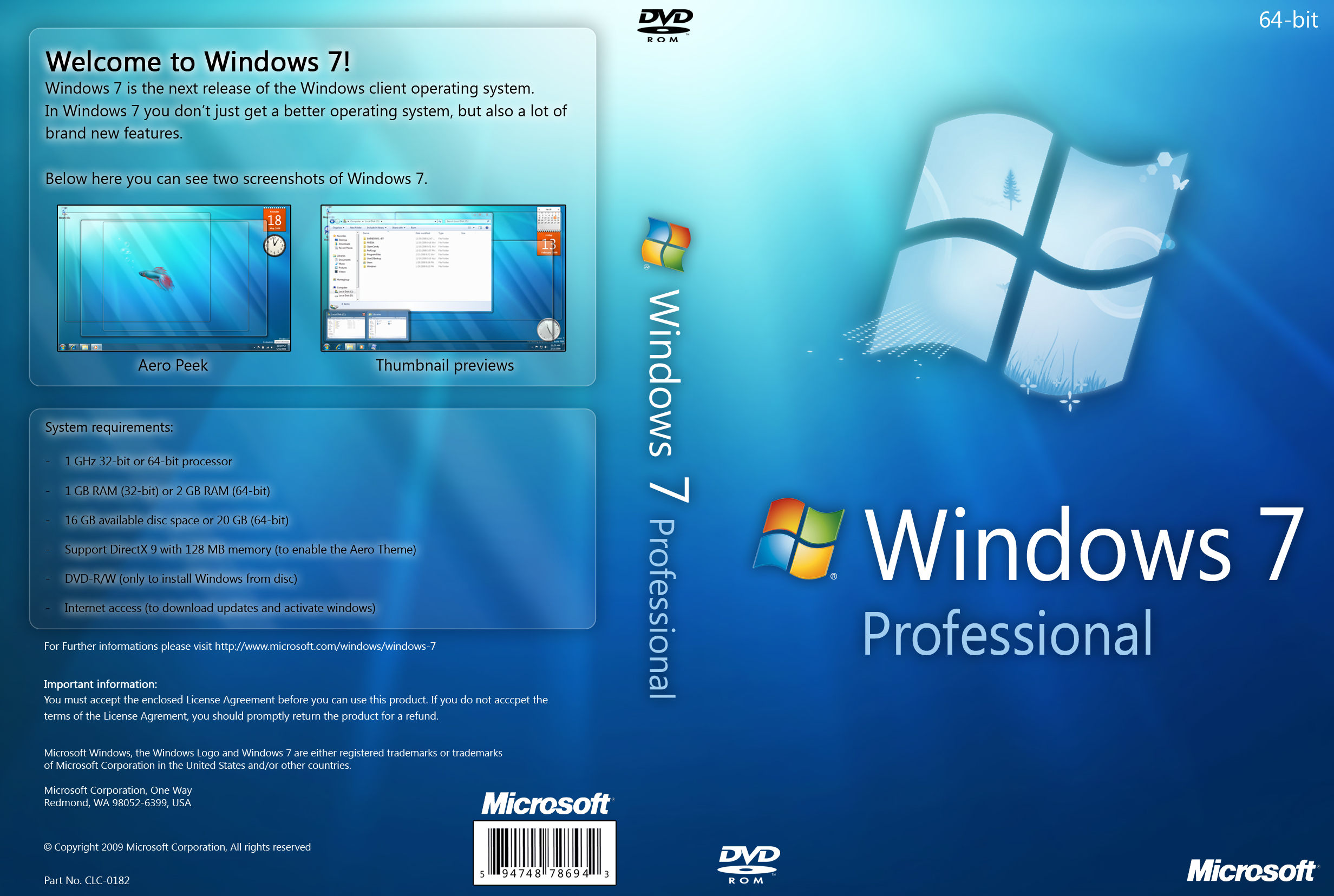 windows 7 professional 64 bit license