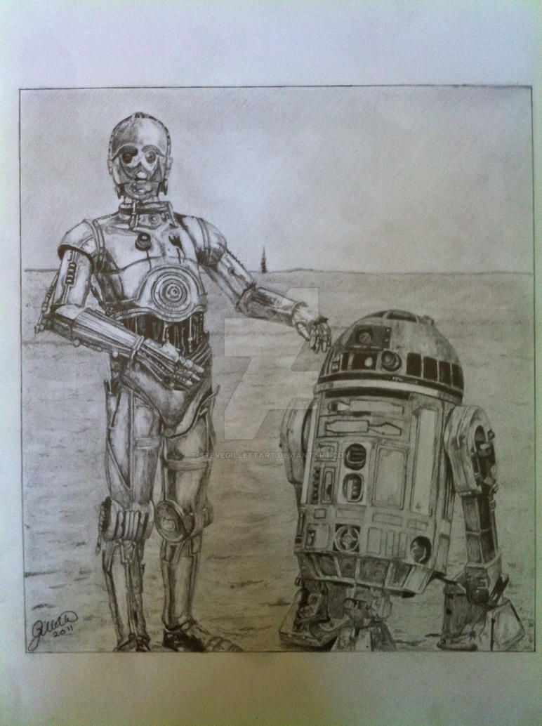 'C-3PO and R2-D2' Star Wars (1977) -2011 (Drawing) by ...R2d2 And C3po Drawing