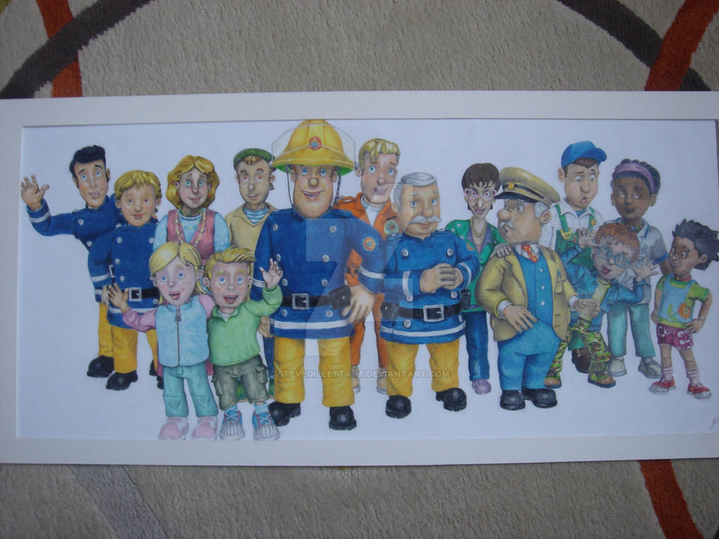 Fireman Sam And Crew 2010 Drawing By Stevegillettart On