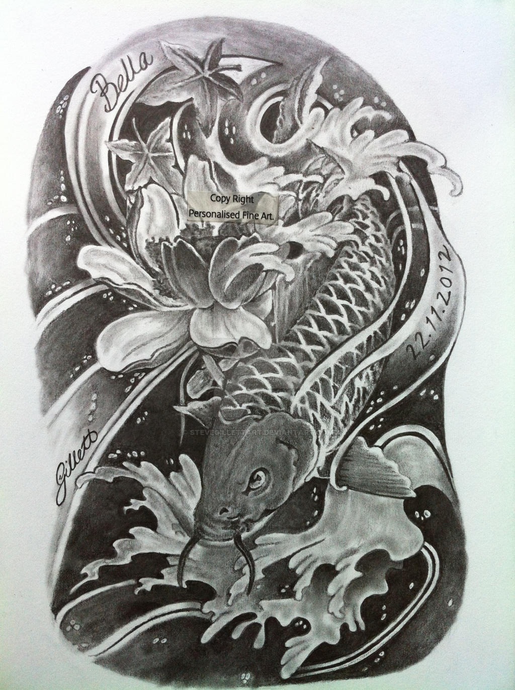 39 dragon coy carp 39 tattoo design 2013 drawing by for Coy carp tattoo