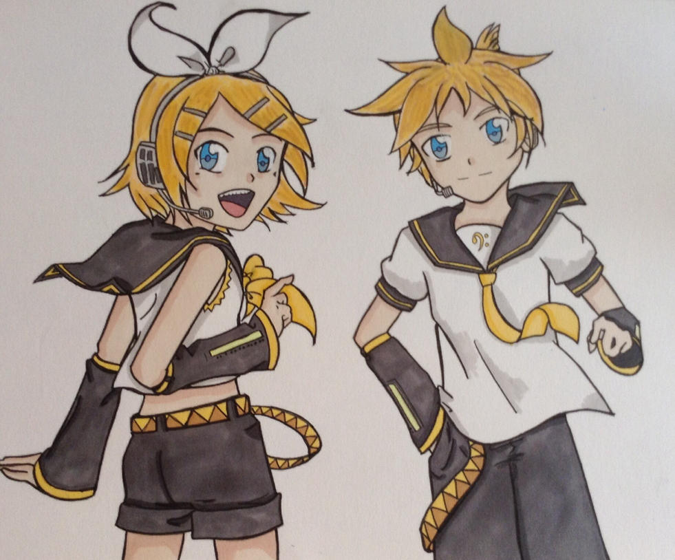 Len and Rin Kagamine Vocaloid by Kuchi-Chan