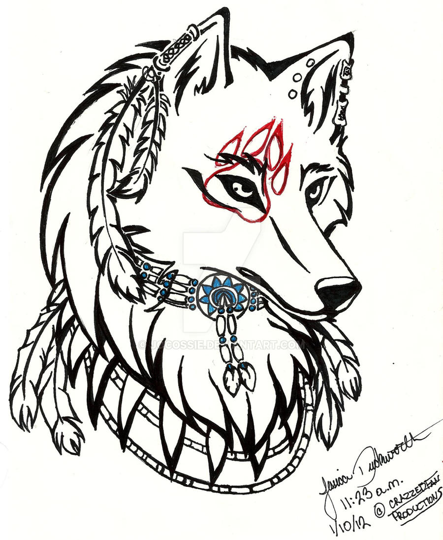 Tribal Native Wolf Hea...